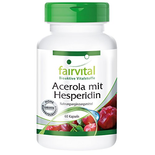 Acerola con Hesperidina - VEGANO - 60 Cápsulas - con la vitamina C y extracto de semilla...