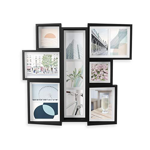 UMBRA Marco de fotos Edge para fotos, impresiones artísticas, ilustraciones, imágenes, gráficos y más, moderno marco de fotos de pared y mesa MDF, color negro