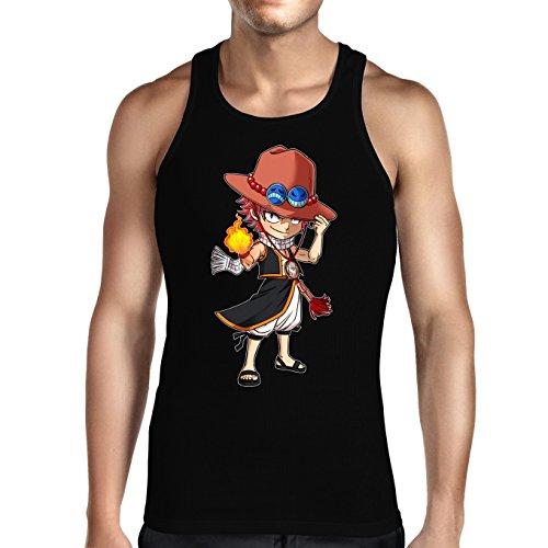 Débardeur Noir Fairy Tail - One Piece parodique Ace et Natsu : L'Ultime Dieu du Feu !! (Parodie Fairy Tail - One Piece)