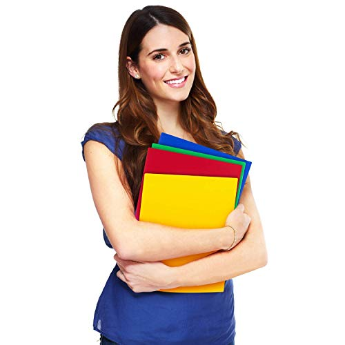 Dunwell Colored Pocket Folders, 2-Pocket File Folders (12 Pack, 6 Assorted Colors + 6 Red) School Folders, Plastic Folders with Labels, Two Pocket Folders, Letter Size File Folders with Pockets Photo #3