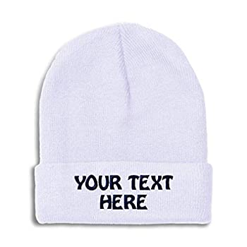Winter Hat Beanie for Men & Women Custom Personalized Text Name Embroidery Acrylic Skull Cap Hat White