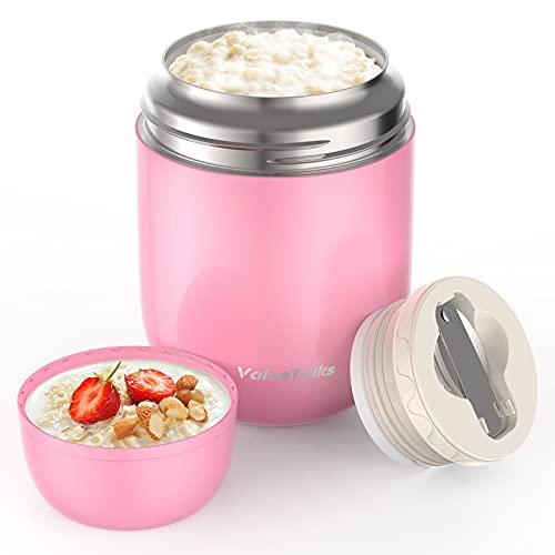 ValueTalks Thermos per Alimenti 450ML,Vuoto Isolato Acciaio Inossidabile Thermos Acciaio con Un Cucchiaio Pieghevole (Rosa)