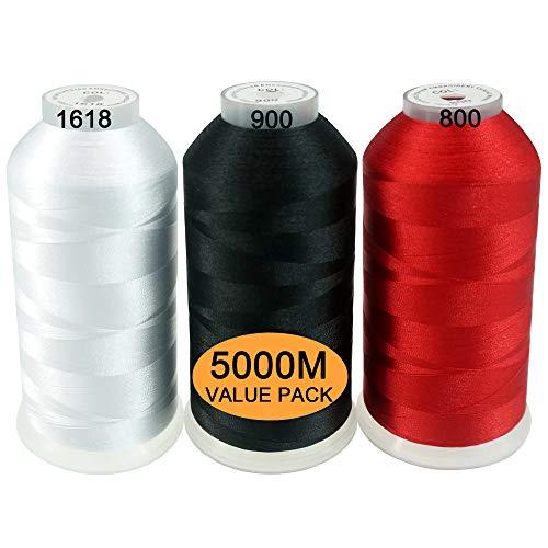 New brothread Conjunto de 3 Blanco Negro Rojo Colores Poliéster Bordado Máquina Hilo Grande Carrete 5000M para Todas Las máquinas de Bordado
