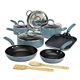 Goodful Premium Non-Stick Cookware Set, Dishwasher Safe Pots and Pans, Diamond Reinforced Coating, Made Without PFOA, 12-Piece, Turquoise