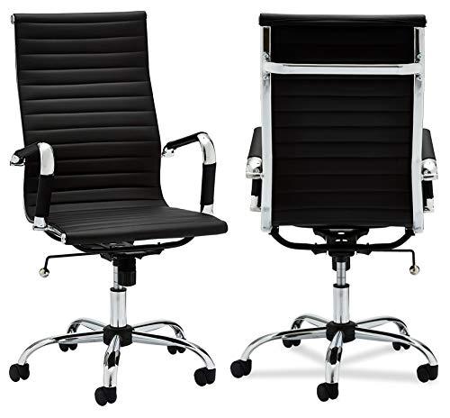 Ibbe Design Ergonomisch Schwarz Kunstleder Bürostuhl Schreibtischstuhl Designo mit Armlehne,Höhenverstellbar,Drehstuhl, Belastbar 150kg,L54x B65x H117cm