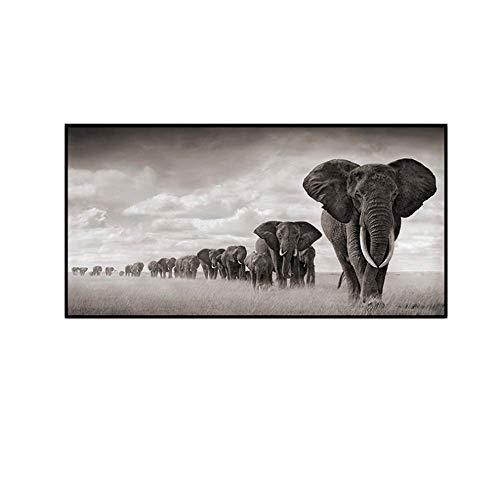 XingChen Cuadro en Lienzo 70x140cm sin Marco Blanco y Negro África Elefantes Cuadros Pintura Animal Salvaje Carteles Impresiones Imágenes artísticas para Sala de Estar