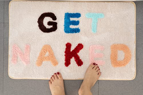 """Abound Lifestyle Get Naked Bath Mat, Cute Bathroom Mat with Words, Fade Resistant Bathtub Rug, Funny Tufted Microfiber Bath Rug, Get Naked Rug, Machine Washable Shower Mat, Non-Slip (20""""x32"""")"""