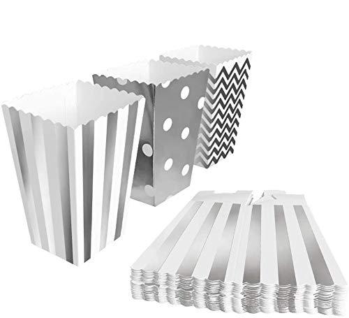 BangShou 60pcs Cajas de Palomitas Cartón Caramelo Contenedor Cine Pequeñas Cajas de Palomitas de Maíz 12 x 7.5cm (Plata)