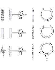 CASSIECA 6 Pares Pendientes Aros para Mujer Hombres Niña Pendientes Pequeños Minimalistas Pendientes Rayo Mini Bar Pendientes Zirconia Pendientes Cartilago Oreja hipoalergeniños Pendientes Oro Plata
