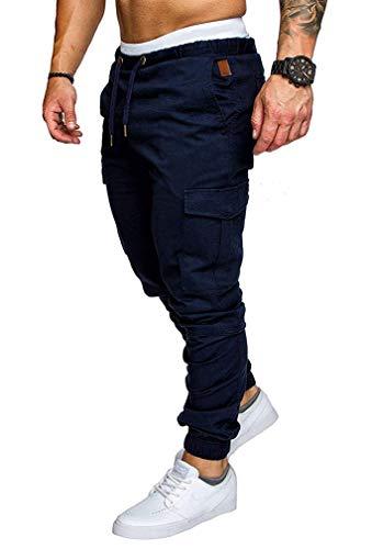 Solcuer Uomo Cintura Elastica in Cotone Lungo Pantaloni Cargo con Coulisse Tasche Laterali Trousers della di Sport Pantaloni da Jogging Activewear