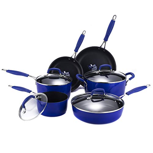 Momscook cookware set 10-Piece Classic Brights Hard Enamel Aluminum Nonstick Cookware Set with Silicone Handles and Tempered-glass Lids, Blue Gradient