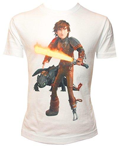 Camiseta para Niño con Diseño de Cómo Entrenar a tu Dragón, HIPO con Espada y Desdentado, Blanco - 128/134