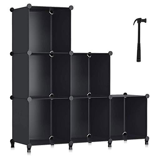 YUEWEIWEI Librería de Cubo, 6 Cubo Unidad de Almacenamiento Bookshelf Almacenamiento Cubo Organizador Multi-Uso DIY Cubo de Almacenamiento Estante para Libros, Juguetes, Ropa, Herramientas
