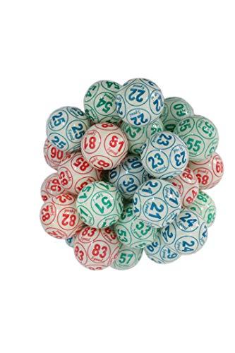 CARTALOTO- Juego de 90 Pelotas de Loto celuloid (diámetro 38 mm, etiquetado 12 Caras), Multicolor