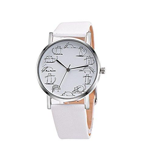 Schön Cartoons Watches Kunstleder Metallhülle Uhr Design Kreativität Armbanduhren Mit Katze Muster (Weiß)