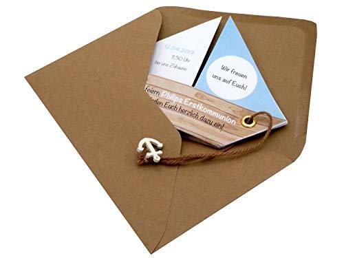 Einladungskarte Kommunion Konfirmation Taufe Boot Schiff Hellblau Blau Einladung Umschlag Braun Weiß, Farbe:Braun