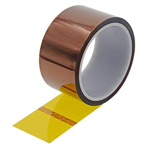Uotyle 1 Rollen Kapton Tape Hitzebeständiges Tape Hochtemperatur Isolierband polyimid Elektronik Klebeband 3D Drucker Isolierband(50mm x 33m,Tawny)