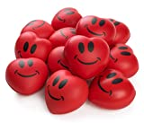 Neliblu Heart Stress Balls - Valentines Day Red Hearts 3' Smile Face Squeeze Stress Relief Heart Shaped Balls; Fun Party Favors for Kids and Adults (1 Dozen)