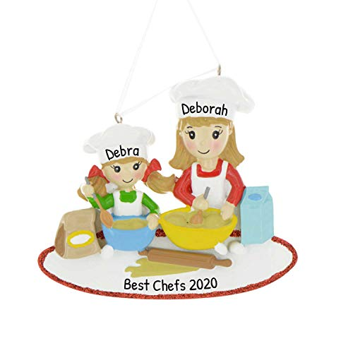 Personalized Mom & Me Baking Christmas Tree Ornament 2020 - Daughter Mother Kitchen Budding Chef Girl Learn Mommy Youtuber Blog Year Baker Teacher Cupcake Holiday Mixer Aid - Free Customization
