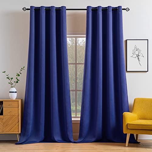 MIULEE 2 Piezas de Cortinas Opacas Resistente al Calor y La Luz para Salón Dormitorio Cortina Gruesa y Suave para Oficina Moderna Decorativa Reducción de Ruido Azul Oscuro 117x228cm