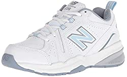 commercial New Balance 608 V5 Casual and Comfortable Women's Sneakers, White / Blue, 8 M US walking shoes womens
