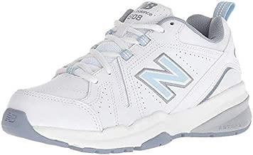 New Balance womens 608 V5 Casual Comfort Cross Trainer, White/Light Blue, 8.5 Wide US