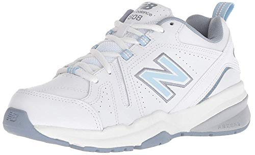 New Balance Women's 608 V5 Casual Comfort Cross Trainer, White/Light Blue, 7.5 M US