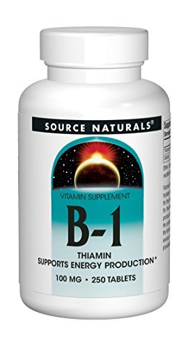 Source Naturals Vitamin B-1 Thiamin 100 mg Supports Energy Production - 250 Tablets