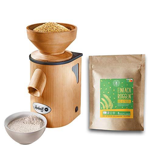 Getreidemühle Mockmill Lino 200 | Made in Germany | Edelkorund und Keramik Mahlstein | frisches Mehl | (Lino 200 + 2,5 kg Bio Roggen)