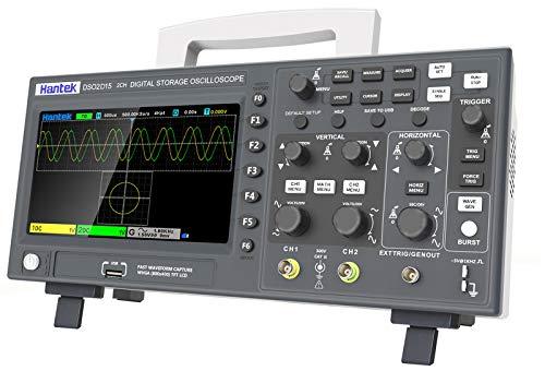 Anmascop Osciloscopio digital, Hantek DSO2D15 kit de Osciloscopio profesional portátil de 7 pulgadas, 2 canales + 1 canal, ancho de banda de 150 MHz, 1GSa / s, frecuencia de muestreo