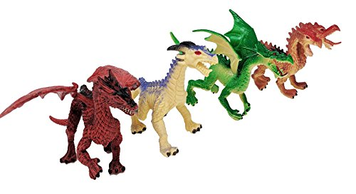 Image of the Toy Essentials 4 Piece Dragon Action Fantasy Figures