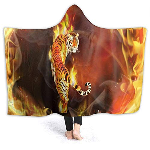 XCNGG Manta con Capucha Tiger in Fire Hooded Blanket Windproof Cozy Hooded Throw Wrap Thermal Hoodie Wearable Blanket Durable Reversible Hooded Sherpa Blanket for Men Women
