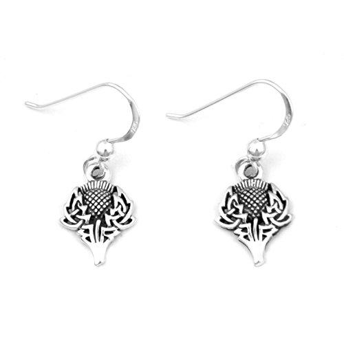 Scottish Spirit of Alba Thistle Celtic Knot Art Sterling Silver Earrings by Courtney Davis