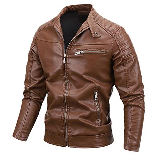 Lederjacke Herren Jacke Innenfleece Sportjacke Männer Fleece Pullover Motorrad Jacken Men mit Reißverschlusstasche Jacke für Männer Winter mit Stehkragen Schwarz Lederjacke für Männer Einfarbig