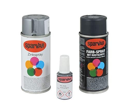 Arvotec Stabmatten Lack Reparatur RAL 7016 - anthrazit, Farbspray + Zinkspray + Lackstift - optimal für Kratzer und Beschädigungen an Stabmatten- & Metallzäunen