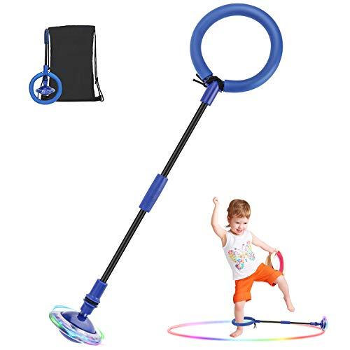 MOPOIN Kinder Blinkender Springring, Faltbar Knöchelsprungball Glühender Springender Ball Blinkender Springball Fettverbrennungsspiel für Kinder und Erwachsene, Blau
