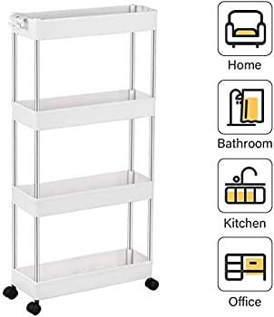 Spackeeper 4-Tier Slim Storage Mobile Shelving Cart (White)