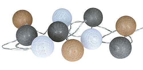 levandeo 10er Lichterkette LED Kugeln Lampions Baumwolle Braun Grau Weiß Cotton Girlande Deko Cottonballs