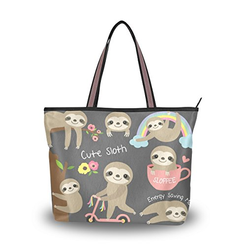 Women Large Tote Top Handle Shoulder Bags Cute Baby Sloth Ladies Handbag