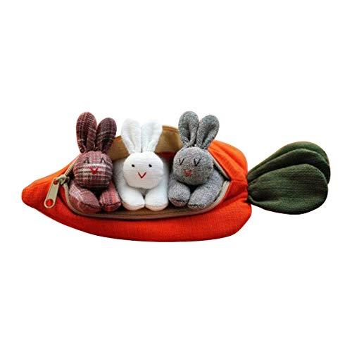 MARIJEE Lindo monedero de zanahoria, 3 mini conejitos de peluche en bolso de zanahoria, decoración de escritorio con lindo conejo bolsa de Pascua regalo monedero animal monedero para niños