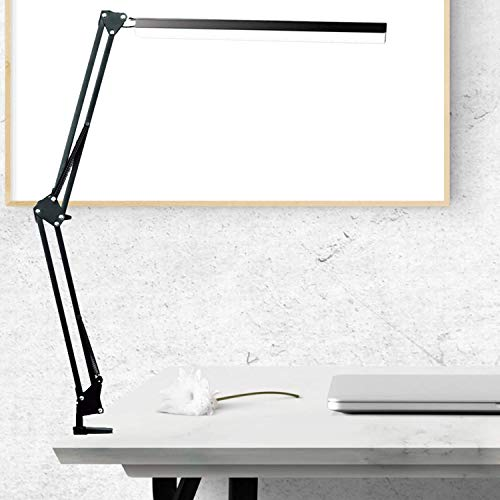 Lámpara de Escritorio LED, BZBRLZ 360 ° Lámpara de Brazo Oscilante de Aluminio, Brillo Infinito Ajustable, 3 Modos de Color, Operación con un Solo Botón, más de 60000 h de vida útil(Negro)