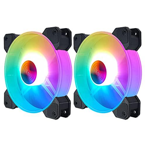 SOLUSTRE 2 Ventiladores RGB Ventiladores de 14CM para Ordenador de Sobremesa Ventiladores de Ordenador de Refrigeración Silenciosa para Estuches de CPU de Radiadores