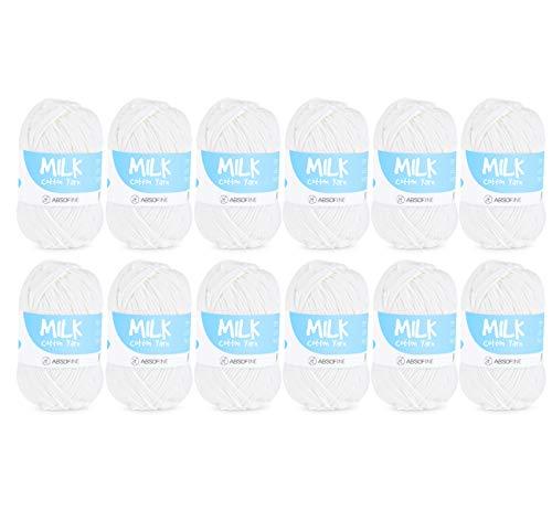 Gomitoli di Lana, 600g (12x50g) Filato Lana, Bianco Acrilico Latte Cotone Adatto per Neonati, Morbido e Bello, per Maglieria a Mano, per Maglieria Hobby Creativi-100 m / rotolo