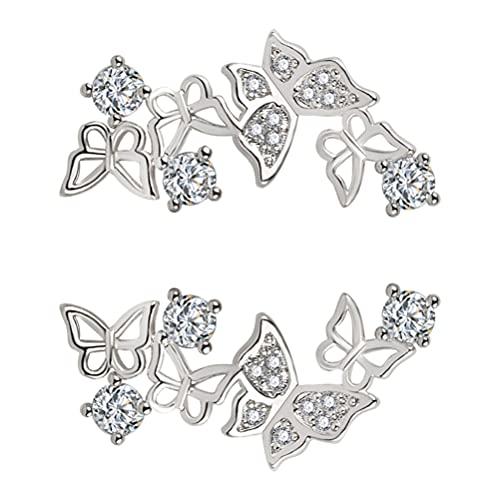 Holibanna 1 par de Pendientes de Mariposa Pendientes de Zirconia Cúbica Pendientes de Oreja Joyería para Damas Mujeres