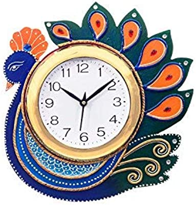 eCraftIndia Handcrafted Peacock Papier-Mache and Wooden Wall Clock (27 cm x 3 cm x 27 cm, KWC659)