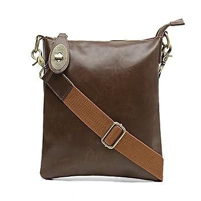 Foino Sac Besace Cuir Sac bandoulière Homme Sac Porté épaule Sac Voyage Vintage Sacoche de Cours Sport Bag pour Outdoor