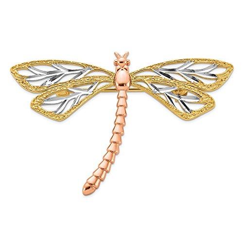 Diamond2deal 14 K Amarillo Blanco y Oro Rosa Pulido y Satinado libélula Pin