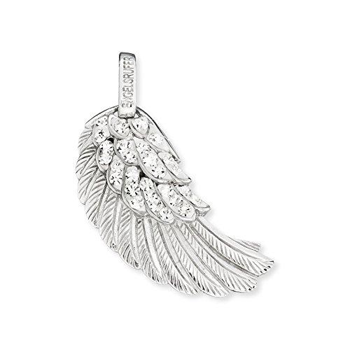 Engelsrufer Flügel Anhänger für Damen 925er-Sterlingsilber mit weißen Kristallen 29 mm