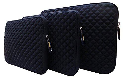 "AZ-Cover 10.1-Inch Case Simplicity & Stylish Diamond Foam Shock-Resistant Neoprene Sleeve (Black) For Best Value Tablet with HDMI ValuePad VP112-11 10.1"" Hybrid Tablet + One Capacitive Stylus Pen"