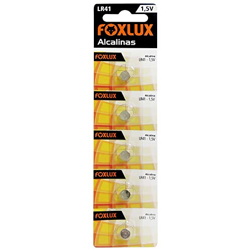 Bateria Alcalina Foxlux – LR41 – 1,5V – Cartela com 5 unidades – Ideal para controles de portas, alarmes de carro, brinquedos e aparelhos auditivos